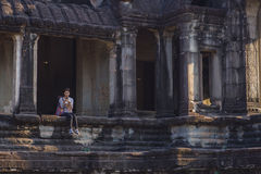 Η ανατολή σε Angkor Wat, Siem συγκεντρώνει την Καμπότζη Στοκ Εικόνες