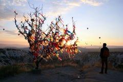 Η ανατολή στα βουνά με πολλά καυτά μπαλόνια αέρα στον ουρανό Στοκ εικόνα με δικαίωμα ελεύθερης χρήσης