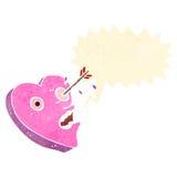 η αναδρομική αγάπη κινούμενων σχεδίων βλάπτει το χαρακτήρα καρδιών Στοκ Φωτογραφίες