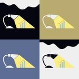 Η αναλυτική έννοια του χώρου εργασίας γραφείων, με το πρόγραμμα εικόνων Στοκ Φωτογραφίες