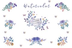 Η ανθοδέσμη λουλουδιών watercolor λουλακιού, έτοιμη floral καθορισμένη ζωγραφική πλαισίων βγάζει φύλλα τα λουλούδια σχεδίου για τ Στοκ φωτογραφία με δικαίωμα ελεύθερης χρήσης