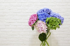 Η ανθοδέσμη των πολυ χρωματισμένων hydrangeas Στοκ Εικόνες