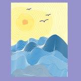 Η ανοικτή θάλασσα με τα κύματα και εξασθενίζει τον ήλιο στον ουρανό, διάνυσμα απεικόνιση αποθεμάτων