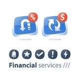 Η ανταλλαγή νομίσματος, πλάτη μετρητών, επιστροφή χρημάτων, υπηρεσία χρηματοδότησης, γρήγορο δάνειο, αναχρηματοδοτεί την έννοια,  απεικόνιση αποθεμάτων