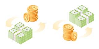 Η ανταλλαγή των bitcoins στα δολάρια εγγράφου Επίπεδο isometric illust απεικόνιση αποθεμάτων