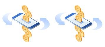 Η ανταλλαγή των bitcoins στα δολάρια μετάλλων Κινητές τραπεζικές εργασίες concep ελεύθερη απεικόνιση δικαιώματος