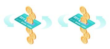 Η ανταλλαγή των bitcoins στα δολάρια Οι τραπεζικές εργασίες μέσω της πιστωτικής κάρτας ελεύθερη απεικόνιση δικαιώματος