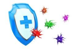 Η αντιβακτηριακή ή αντι ασπίδα ιών, υγεία προστατεύει την έννοια τρισδιάστατος Στοκ εικόνα με δικαίωμα ελεύθερης χρήσης