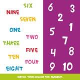 Η αντιστοιχία χρωματίζει έπειτα τους αριθμούς 1 έως 10 Λέξεις παιδιών που μαθαίνουν το παιχνίδι, φύλλα εργασίας με την απλή ζωηρό Στοκ Εικόνες