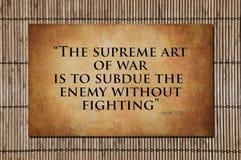 Η ανώτατη τέχνη του πολέμου - ήλιος Tzu Στοκ Εικόνες