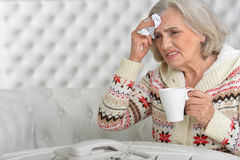 Η ανώτερη γυναίκα έχει γρίπη στοκ εικόνες
