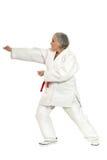Η ανώτερη γυναίκα karate θέτει Στοκ Εικόνες