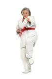 Η ανώτερη γυναίκα karate θέτει Στοκ εικόνα με δικαίωμα ελεύθερης χρήσης