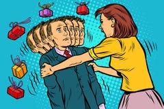 Η απαίτηση δώρων η σύζυγος τινάζει το σύζυγό της Άνισες σχέσεις γυναικών και ανδρών, εκμετάλλευση διανυσματική απεικόνιση