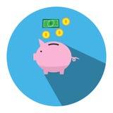 Η απεικόνιση απεικονίζει τη piggy τράπεζα με μια ρόδινη piggy τράπεζα στο μέτωπο Μπορέστε να χρησιμοποιηθείτε στα μέσα εικόνας Στοκ Εικόνες