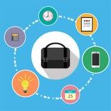 Η απεικόνιση είναι ένα εικονίδιο για μια επιχείρηση Οι τσάντες εργασίας μπορούν να τεθούν στα πράγματα όπως τα τηλεφωνήματα Υπολο Στοκ Εικόνα