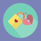 Η απεικόνιση είναι 2 βασικά εικονίδια από κοινού Κίτρινο κλειδί με την πορφύρα Βασική καρδιά Στοκ φωτογραφίες με δικαίωμα ελεύθερης χρήσης
