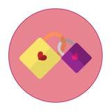 Η απεικόνιση είναι 2 βασικά εικονίδια από κοινού Κίτρινο κλειδί με την πορφύρα Βασική καρδιά Στοκ Φωτογραφία