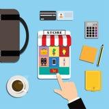 Η απεικόνιση είναι μια κινητή σε απευθείας σύνδεση αγορά μέσω της εφαρμογής Υπάρχουν πολλές επιλογές διαθέσιμες μέσω των εικονιδί Στοκ Εικόνες