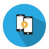 Η απεικόνιση είναι μια χρηματοπιστωτική συναλλαγή πέρα από το τηλέφωνο Μπορείτε να μεταφέρετε τα χρήματα για να ελέγξετε την ισορ Στοκ Φωτογραφίες