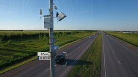 Η απεικόνιση ελέγχου καταδίωξης ραντάρ ταχύτητας κυκλοφορίας με τη infographic αυτοκινητική ανίχνευση ταχύτητας αυτοκινήτων αυτόμ φιλμ μικρού μήκους