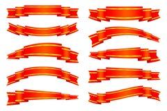 η απεικόνιση εμβλημάτων απομόνωσε το κόκκινο καθορισμένο διανυσματικό λευκό κορδελλών Στοκ Φωτογραφίες