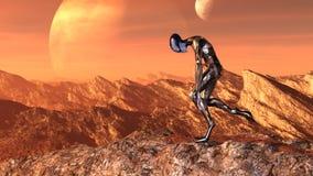 Η απεικόνιση ενός εξωγήινου φορώντας μια φόρμα αστροναύτη που στέκεται σε ένα mountaintop κατρακύλησε στην εξαγωγή με έναν αλλοδα απεικόνιση αποθεμάτων