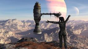 Η απεικόνιση ενός φουτουριστικού θηλυκού στρατιώτη που στέκεται σε ένα mountaintop με τα όπλα διέδωσε προς ένα διαστημόπλοιο με έ διανυσματική απεικόνιση