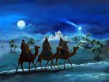 Η απεικόνιση ιερής οικογένειας και τριών βασιλιάδων - παραδοσιακή σκηνή - απεικόνιση για τα παιδιά Στοκ Εικόνες