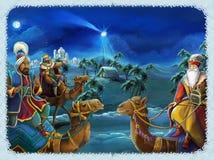Η απεικόνιση ιερής οικογένειας και τριών βασιλιάδων - παραδοσιακή σκηνή - απεικόνιση για τα παιδιά διανυσματική απεικόνιση