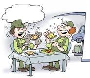 Η απεικόνιση κινούμενων σχεδίων δύο μηχανικών τρώει εκεί το μεσημεριανό γεύμα Στοκ Εικόνες