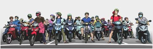 Η απεικόνιση με τη λεπτομέρεια της πολυάσχολης ασιατικής οδού με τις μοτοσικλέτες και τα μοτοποδήλατα στη στάση υπογράφουν Στοκ Εικόνες