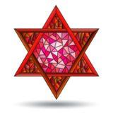 Η απεικόνιση με το έξι-δειγμένο κόκκινο αστέρι στο λεκιασμένο ύφος γυαλιού στο άσπρο υπόβαθρο απομονώνει Στοκ Εικόνες