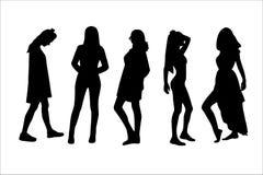 η απεικόνιση μόδας επαγγελματικών καρτών ανασκόπησης σκιαγραφεί τις διανυσματικές γυναίκες ύφους Στοκ εικόνα με δικαίωμα ελεύθερης χρήσης