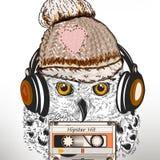 Η απεικόνιση μόδας Hipster με την άσπρη κουκουβάγια ακούει μουσική στο κεφάλι Στοκ Εικόνες