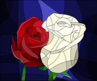 Η απεικόνιση στο λεκιασμένο γυαλί με τα λουλούδια και τα φύλλα του κοκκίνου αυξήθηκε στο καφετί υπόβαθρο σε έναν φωτεινό ένα πλαί ελεύθερη απεικόνιση δικαιώματος