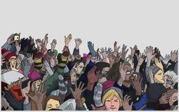 Η απεικόνιση της διαμαρτυρίας του πλήθους με αυξημένος παραδίδει το χρώμα Στοκ Εικόνες