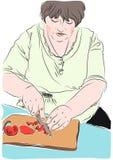 Η απεικόνιση της νοικοκυράς προετοιμάζει το μεσημεριανό γεύμα Στοκ Φωτογραφίες