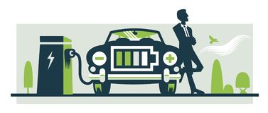 Η απεικόνιση του επαναφόρτισης του ηλεκτρικού αυτοκινήτου, τα μπροστινά κάγκελα είναι ένα εικονίδιο μπαταριών διανυσματική απεικόνιση
