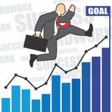 Η απεικόνιση του επιχειρηματία πηγαίνει στην επιτυχία λόγω του hardwork Στοκ Φωτογραφία