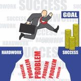 Η απεικόνιση του επιχειρηματία πηγαίνει στην επιτυχία λόγω του hardwork Στοκ εικόνες με δικαίωμα ελεύθερης χρήσης