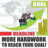Η απεικόνιση του επιχειρηματία πηγαίνει στην επιτυχία λόγω του hardwork Στοκ Εικόνα