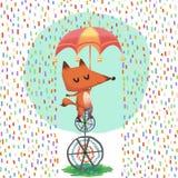 Η απεικόνιση του κόσμου της φαντασίας των παιδιών: Λίγη αλεπού οδηγά ένα Unicycle στη βροχή Στοκ Εικόνα