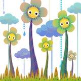 Η απεικόνιση του κόσμου της φαντασίας των παιδιών: Ψηλά λουλούδια Στοκ Εικόνες