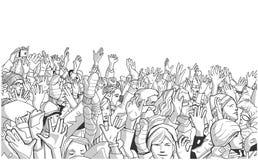 Η απεικόνιση των ανθρώπων που διαμαρτύρονται στο κρύο με αυξημένος παραδίδει την γκρίζα κλίμακα Στοκ Φωτογραφίες