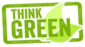 Η απεικόνιση ως γραμματόσημο με σκέφτεται πράσινη διανυσματική απεικόνιση