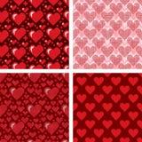 Η απλή κόκκινη καρδιών αιχμηρή διανυσματική άνευ ραφής σχεδίων κάρτα χρώματος υποβάθρου ροζ όμορφη γιορτάζει τη φωτεινή κόκκινη κ Στοκ Εικόνες