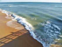 Η αποβάθρα γερακιών γατακιών πετά μια σκιά πέρα από τον ωκεανό και την παραλία στοκ φωτογραφία