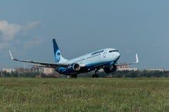 Η απογείωση των αεροσκαφών Boeing-737, Ροστόφ--φορά, Ρωσία, 15η του Ιουνίου του 2015 Στοκ φωτογραφίες με δικαίωμα ελεύθερης χρήσης