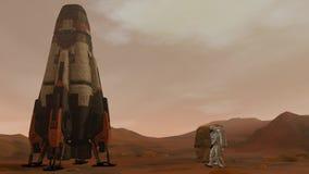 Η αποικία χαλά επάνω Δύο αστροναύτες που περπατούν στην επιφάνεια χαλούν Να ερευνήσει την αποστολή χαλά Φουτουριστική αποίκιση κα απόθεμα βίντεο